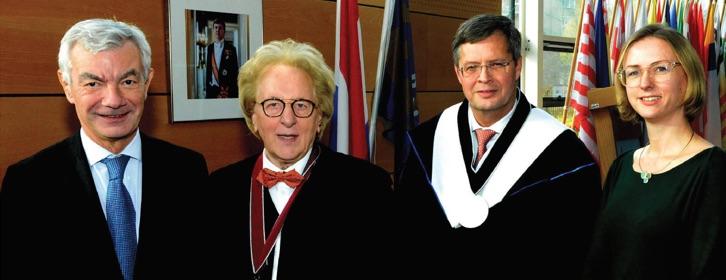 Nederlands-Belgische Academiedag 2019-2020 BUC: Belgische ambassadeur Dirk Achten, prof. Anton van der Geld, prof. Jan Peter Balkenende en Ned. ambassaderaad dr. Janet Takens