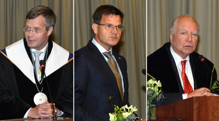 Leerstoel BENELUX 2019:oud-premier Mark Eyskens, oud-premier Jan Peter Balkenende en voorzitter Benelux-Parlement drs. André Postema.