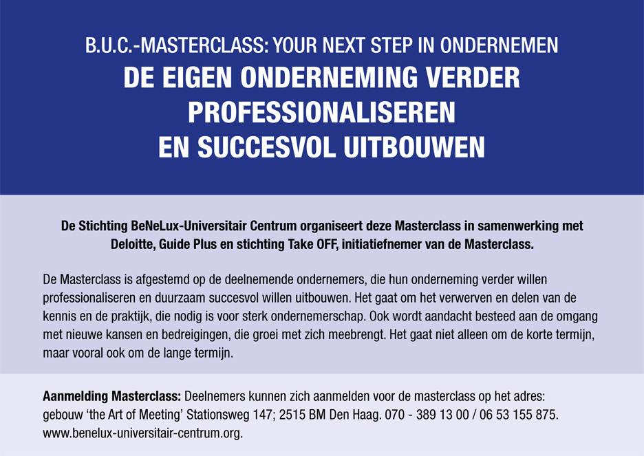 B.U.C.-Masterclass: your next step in ondernemen